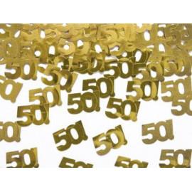 """KONFETY NAROZENINOVÉ """"50"""" LET -15 g zlaté"""