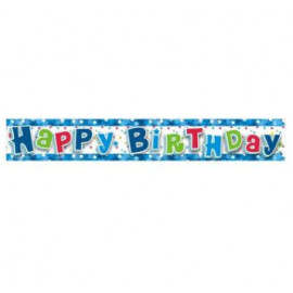 HAPPY BIRTHDAY BANNER -girlanda 180 cm modrá