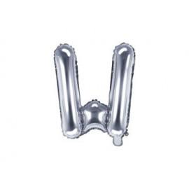 """Balón foliový písmeno """"W"""", 35cm, STŘÍBRNÝ (NELZE PLNIT HELIEM)"""