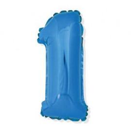 Balón foliový číslice MODRÁ 35 cm - 1 ( NELZE PLNIT HELIEM )