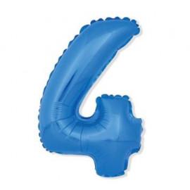 Balón foliový číslice MODRÁ 35 cm - 4 ( NELZE PLNIT HELIEM )