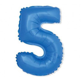 Balón foliový číslice MODRÁ 35 cm - 5 ( NELZE PLNIT HELIEM )
