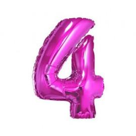Balón foliový číslice RŮŽOVÁ 35 cm - 4 ( NELZE PLNIT HELIEM )