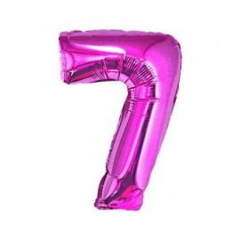 Balón foliový číslice RŮŽOVÁ 35 cm - 7 ( NELZE PLNIT HELIEM )