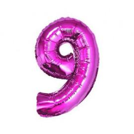 Balón foliový číslice RŮŽOVÁ 35 cm - 9 ( NELZE PLNIT HELIEM )