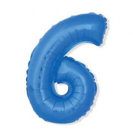 Balón foliový číslice MODRÁ 43 cm - 6  ( NELZE PLNIT HELIEM )