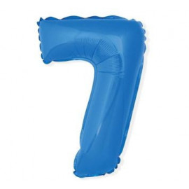 Balón foliový číslice MODRÁ 35 cm - 7 ( NELZE PLNIT HELIEM )