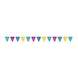 """Girlanda vlajky """"Happy Birthday""""  barevná - 2,74 m"""