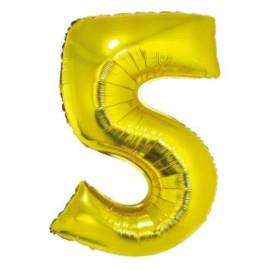 Balón foliový číslice ZLATÁ 35 cm - 5 ( NELZE PLNIT HELIEM )