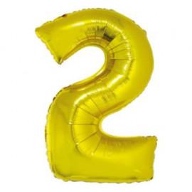 Balón foliový číslice ZLATÁ 35 cm - 2 ( NELZE PLNIT HELIEM )