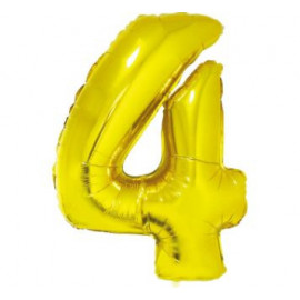 Balón foliový číslice ZLATÁ 35 cm - 4 ( NELZE PLNIT HELIEM )