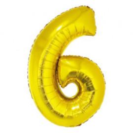 Balón foliový číslice ZLATÁ 35 cm - 6 ( NELZE PLNIT HELIEM )