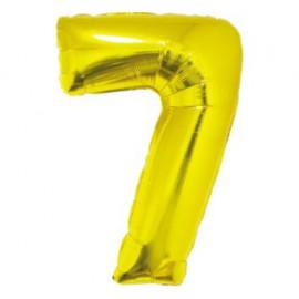 Balón foliový číslice ZLATÁ 35 cm - 7 ( NELZE PLNIT HELIEM )