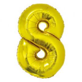 Balón foliový číslice ZLATÁ 35 cm - 8 ( NELZE PLNIT HELIEM )