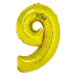 Balón foliový číslice ZLATÁ 35 cm - 9 ( NELZE PLNIT HELIEM )