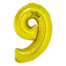 Balón foliový číslice ZLATÁ 43 cm - 9  ( NELZE PLNIT HELIEM )