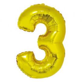 Balón foliový číslice ZLATÁ 35 cm - 3 ( NELZE PLNIT HELIEM )