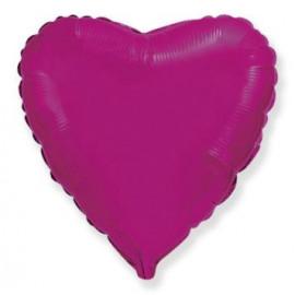 Balón foliový 45 cm Srdce tmavě růžové FUCHSIE