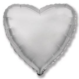 Balón foliový 45 cm Srdce stříbrné