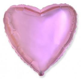 Balón foliový 45 cm  Srdce světle růžové metalické