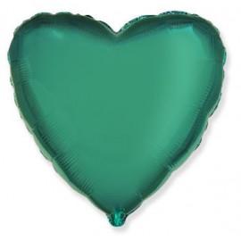 Balón foliový 45 cm  Srdce zelené TYRKYSOVÉ