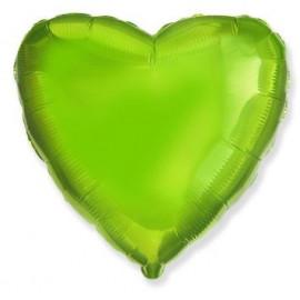 Balón foliový 45 cm  Srdce zelená limetka