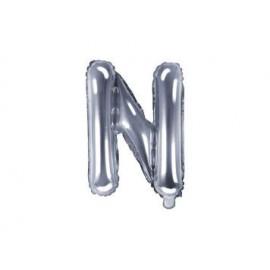 """Balón foliový písmeno """"N"""", 35cm, STŘÍBRNÝ (NELZE PLNIT HELIEM)"""