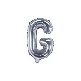 """Balón foliový písmeno """"G"""", 35cm, STŘÍBRNÝ (NELZE PLNIT HELIEM)"""