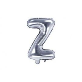 """Balón foliový písmeno """"Z"""", 35cm, STŘÍBRNÝ (NELZE PLNIT HELIEM)"""