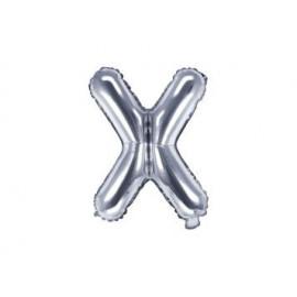 """Balón foliový písmeno """"X"""", 35cm, STŘÍBRNÝ (NELZE PLNIT HELIEM)"""