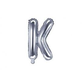 "Balón foliový písmeno ""K"", 35cm, STŘÍBRNÝ (NELZE PLNIT HELIEM)"