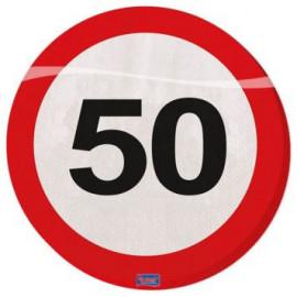 Ubrousky dopravní značka 50, 33x33cm 20ks/bal.