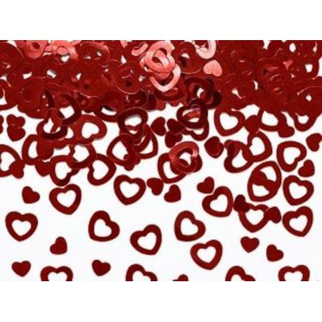 Metalické konfety na stůl SRDCE, červené 15g - Svatba / Valentýn