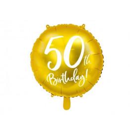 Balón foliový 50. narozeniny zlatý, 45cm