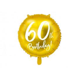 Balón foliový 60. narozeniny zlatý, 45cm