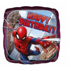 Balón foliový 43 cm - Spiderman Happy Birthday