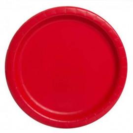 Talíře červené 22 cm - 8 ks