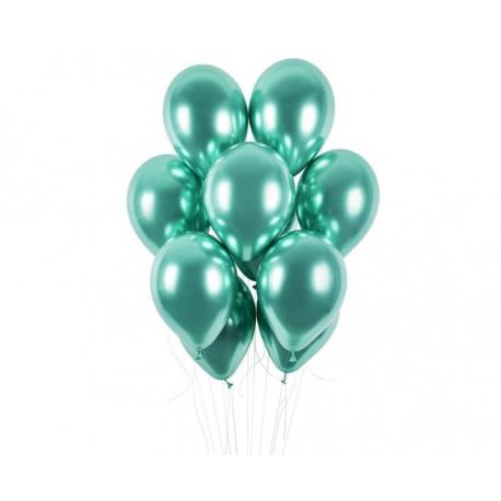 Balónek chromovaný 1 KS lesklý zelený - průměr 33 cm