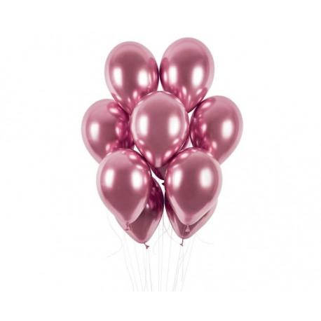 Balónek chromovaný 1 KS lesklý růžový - průměr 33 cm