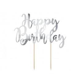 Dekorace na dort Happy Birthday, stříbrná 22,5 cm