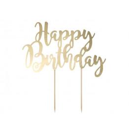 Dekorace na dort Happy Birthday, zlatá 22,5 cm