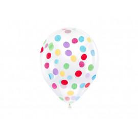 BALÓNKY 6 ks 30cm - průhledné s konfetami barevnými