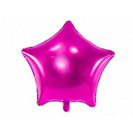 Balón foliový 48 cm  Hvězda metalická tmavě růžová (Fuchsie)