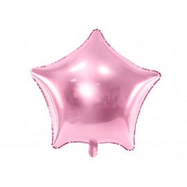 Balón foliový 48 cm  Hvězda světle růžová metalická