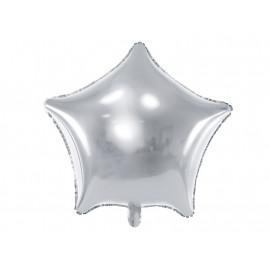 Balón foliový 48 cm  Hvězda stříbrná metalická