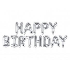 Balon foliový nápis Happy Birthday, 340x35cm, silver