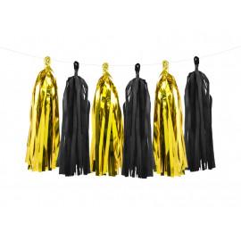 Střapec girlanda zlato-černý 150x30cm