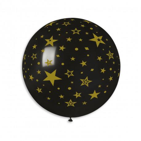 Balon latex 80cm - černý potisk hvězdy