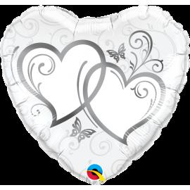 Balon foliový Srdce zapletená Stříbrná 45cm