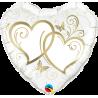 Balon foliový Srdce zapletená Zlatá 45cm